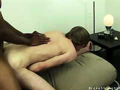 Cute blonde twink gets his irritant stretched overwrought a fat black cock