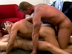 Muscular merry fuckers set a neglected threesome