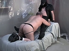 Fat dude on his knees with the addition of giving a blowjob