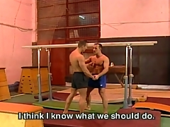 Gay fuck action at gym
