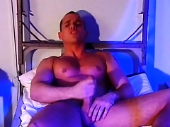 Evil military man wants to seduce his muscular partner with the addition of lick his balls