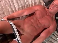 Gorgeous tanned solo kermis strokes dick slowly