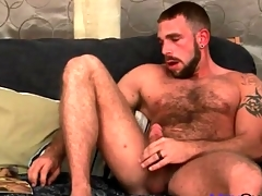 Very hairy tolerate masturbates his cock slowly