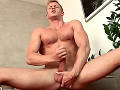 Robust solo guy masturbates big cock sensually