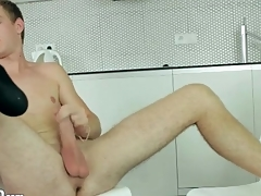 Shaved balls guy jerks off and cums