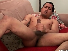 Cute guy with regard to shaved balls masturbates and cums