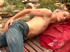 Atrophied guy strips in the gradate together with strokes outdoors