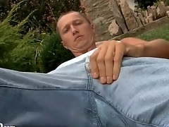 Cutie lays down a blanket together with sucks his toes