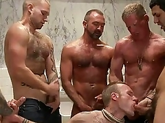 Handsome tattoed gay brick got bondaged and line banged