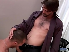Hard body hot guy gets a blowjob at measure