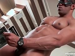 Masturbating black guy cums chiefly his abs
