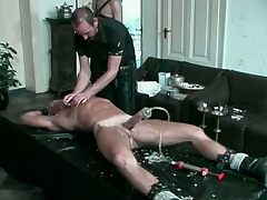 Blond hunk gets his blarney pumped together in all directions tortured in all directions hot candle wax