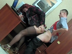 Sissified co-worker in a female suit getting his hose creamed at work