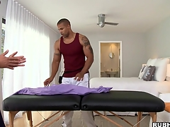 Great massage boy is showing his skills to that tattooed bodyguard
