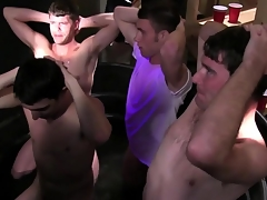Straight college students at their initiation tugging cocks