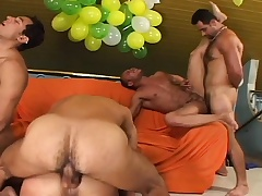 Gay orgy with these five dudes going at it hot and heavy up the ass