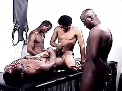 Black gays in the air a foursome of pleasure eating cock and drilling ass