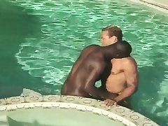 Interracial gay friends at the maximum each other and have anal sex in the pool