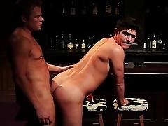 Lustful gay lovers with big cocks getting kinky and dirty in the bar