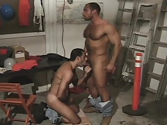 Hairy and muscled hunk takes a hard shaft up his close-fisted ass from behind